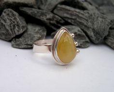 honey opal ring set in Argentium silver  LADurbinmetalsmith.etsy.com