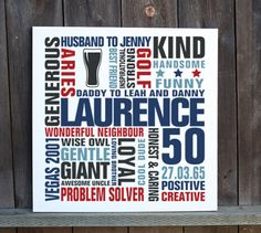 Personalised 50th birthday word art canvas print - MyPhoto2canvas Birthday Words, 50th Birthday, Birthday Typography, Wise Owl, Typography Prints, Word Art, Canvas Art Prints, Creative, 50th Anniversary