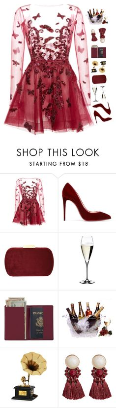 """""""my cherries and wine"""" by loasanchez ❤ liked on Polyvore featuring Zuhair Murad, Christian Louboutin, Natasha, Riedel, Royce Leather, Prodyne and MANGO"""