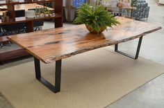 Sandfire Natural Edge Dining Table in Marri Beautiful Industrial Black Iron Base with 2 Piece Top. (General Store Furniture Co)