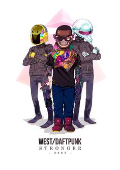Kanye West and Daft Punk – Special Musician Collaboration by Sakiroo Choi #fanart #celebrities