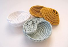 3 Crochet jewelry dishes and display earring and rings by goolgool