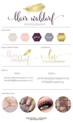 Design Studio | Branding | Business Branding | Brand Board | Branding Kit Logo Design | Rose Gold Logo | Blush Pink Teal Color Scheme | Feather Calligraphy Watercolor | Premade Submark Watermark Stamp | Blogger Photography