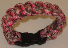 "Pretty 7"" Pink Nylon Cord With Snapping Plastic Clasp Closure Bracelet"