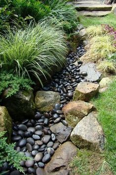 River Rock Landscaping, Landscaping With Rocks, Front Yard Landscaping, Landscaping Ideas, Backyard Ideas, Hillside Landscaping, Patio Ideas, Dry Riverbed Landscaping, Sloped Backyard