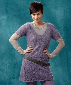 Layer of Lace Tunic #SoftMohair #knitting #RedHeart free pattern