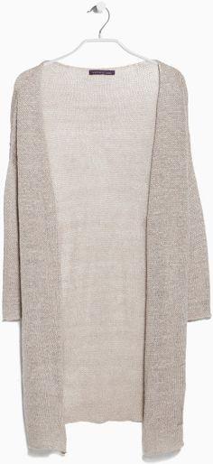 Violeta By Mango Long Linen Cardigan in Gray (lt pastel grey)