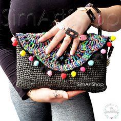 #crochet #crochetbags #bags #bagsandpurses #handmade #handmadebags #uniquedesign #raffiabag #raffiaclutch #strawbag #strawclutch #wovenbag #fanbag #scallopbag #shellbag #shellclutch #seashellbag #colorful #rainbow #colorfulbag #handmadebyme #onlinebags #freeshipping #summerbag #beachbag #bohobag #hippiebag #pompombag #anthracitebag #crochetclutch #hippie #bohemian #gipsy #giftforher #giftformother #simartshop Women Accessories, Fashion Accessories, Hippie Bags, Boho Look, Crochet Bags, Beautiful Bags, Creative Gifts, Bag Making, Free Design