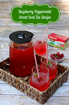 Raspberry Peppermint Sweet Iced Tea Recipe  http://makobiscribe.com/raspberry-peppermint-sweet-iced-tea-recipe/