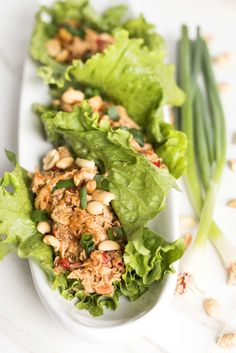 Gluten Free with L.B. | Peanut Asian Chicken Lettuce Wraps | http://glutenfreewithlb.com