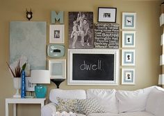 The chalkboard looks great with the gallery wall! You can incorporate any word you want and can change it anytime!