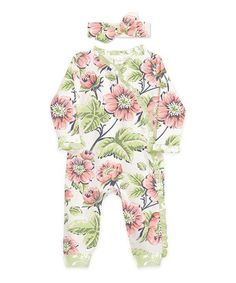 Ivory & Pink Floral Playsuit & Headband - Infant #zulily #zulilyfinds