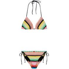 Missoni Mare Printed Bikini ($520) ❤ liked on Polyvore featuring swimwear, bikinis, multicoloured, multi color bikini, missoni mare, bikini swim wear, colorful swimwear and multicolor bikini