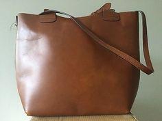 ZARA Large Tan Brown Buffalo Leather Plaited Handle Bucket Shopper Tote Bag (R)