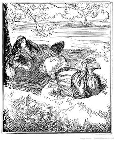 Edmund Joseph Sullivan (1869-1933), was a British book illustrator who worked in a style which merged the British tradition of illustration from the 1860s with aspects of Art Nouveau.   Later in his career, he illustrated the First Version of The Rubaiyat of Omar Khayyam  translated by Edward Fitzgerald, using images of skeletons and animated pots.