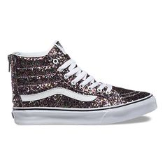 The Chunky Glitter Slim Zip combines a slimmed down version of the  legendary lace-up high top with a zipper entry at the heel, textile uppers  with allover ...
