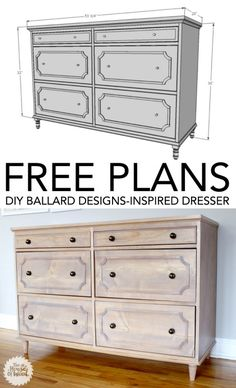 How to build a DIY Ballard Designs-inspired dresser. Free plans and tutorial!