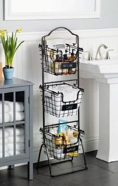 This Market Basket Stand is the practical and elegant storage solution that will bring organization to any room of the house. Each of the 3 generous-sized baskets is ideal for holding everythi (Diy Bathroom Dollar Stores) Bathroom Storage Shelves, Toilet Storage, Diy Storage, Storage Baskets, Kitchen Storage, Diy Kitchen, Kitchen Ideas, Bedroom Storage, Creative Storage