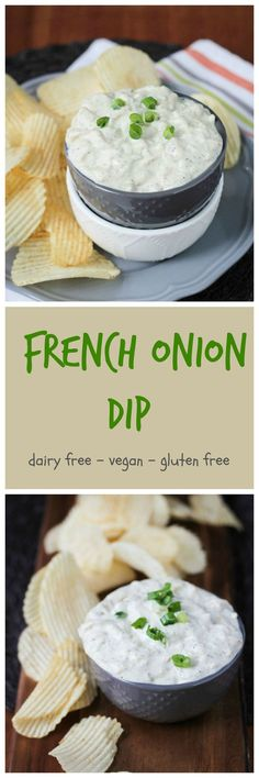 Vegan French Onion Dip with Dill - dairy free | gluten free | whole foods | appetizer | snack | cashew milk | cashews | chips and dip