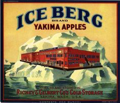 Yakima, Washington Ice Berg Apple Crate Label Art Print