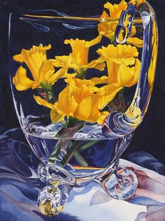 """Soon Y. Warren   Daffodils in the Glass  Image Size: 30"""" x 22""""  Transparent Watercolor on Paper"""