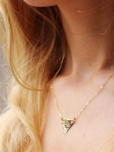 Triangle Necklace 14kt gold filled triangle by NatureVibe on Etsy