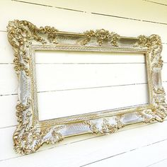 Gold Baroque Wedding Chalkboard Ornate Menu Board by FarmHouseFare Antique Frames, Vintage Frames, Antique Gold, Framed Chalkboard, Chalkboard Wedding, Large Vintage Mirror, Blue Powder Rooms, Baroque Wedding, Shabby Chic Antiques