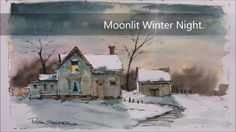 Paint a Moonlit Winter Night in Watercolor. Easy to follow and learn. Wi...
