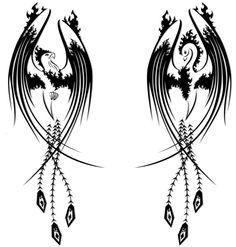 Black Tribal Phoenix Tattoos Designs