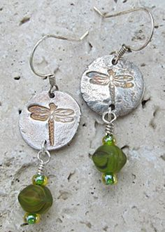 Fine SILVER spring DRAGONFLY EARRINGS by TimberHavenArtisans