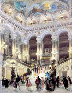 The Staircase of the Opera, by Louis Beraud, 1877. Did you know that up until the early 20th century acting abilities were not important in the opera world, just really great singing. Also, patrons would leave the theatre and come back to hear major arias. I'm glad that is no longer practiced.