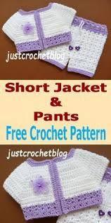 Crochet short jacket-pants uk, a free crochet pattern for a newborn baby, made in a uk double knitting yarn on a crochet hook. Crochet Baby Jacket, Crochet Baby Blanket Beginner, Crochet Pants, Crochet Baby Clothes, Baby Knitting, Crochet For Boys, Free Crochet, Crochet Toys, Baby Patterns