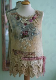 Summer+rain+romantic+hand+embroidered++textile+by+FleurBonheur,+$224.00