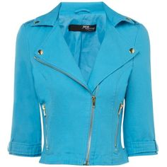 Jane Norman Turquoise Cropped Biker Jacket ($30) ❤ liked on Polyvore featuring outerwear, jackets, tops, coats, blue, turquoise, blue cropped jacket, asymmetrical biker jacket, cropped biker jacket and asymmetrical jacket