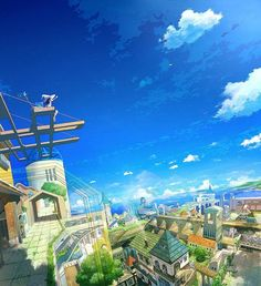 Image shared by Rei Altman. Find images and videos about art, blue and anime on We Heart It - the app to get lost in what you love. Urban Landscape, Landscape Art, Anime City, Graphisches Design, Environment Concept, Image Manga, Anime Scenery, Fantasy World, Beautiful Landscapes