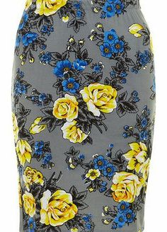 Dorothy Perkins Womens Ruby Rocks Grey Rose Pencil Skirt- Grey Grey Rose and Poppy printed knee length pencil skirt with elasticated waist detail. 100% Viscose. Cool wash up to 30 degrees, wash dark colours separately, do not tumble dry, iron on reverse. http://www.comparestoreprices.co.uk/skirts/dorothy-perkins-womens-ruby-rocks-grey-rose-pencil-skirt-grey.asp