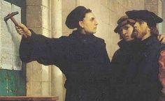 Hier zie je Maarten Luther 95 stellingen op de muur spijkeren tegen de handel in aflaten. De publicatie van zijn academische stellingen tegen de handel in aflaten op 31 oktober 1517 is het symbolische begin van het protestantisme.