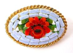 Mosaic-Stone-Rose-Brooch-Pin-Victorian-Era-Gold-Tone-Green-Leaves-1890-039-s-1910