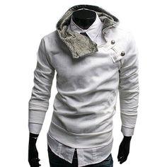 Hoher Kragen Kapuzenpullover mit schrägem Reißverschluss Sweatshirt ...