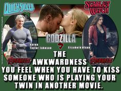 "I saw ""Godzilla"" and realized they were just siblings at the end of ""Captain America: Winter Soldier,"" and will be again in ""Avengers 2: Age Of Ultron."" Scarlet Witch (Elizabeth Olsen) and Quicksilver (Aaron Taylor-Johnson) are both twin siblings of Magneto aka Erik Maximoff (Michael Fassbender)."