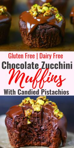 Double Chocolate Zucchini Muffins Topped with Candied Pistachios Gluten Free and Dairy Free. Incredibly easy and delicious. Gluten Free Cupcakes, Gluten Free Muffins, Gluten Free Baking, Gluten Free Desserts, Dairy Free Recipes, Double Chocolate Zucchini Muffins, Oreo, Gluten Free Birthday Cake, Recipes