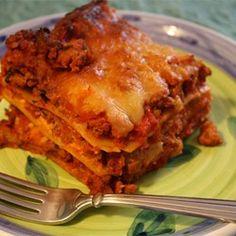 American Lasagna-  I used Italian seasoning instead of basil and oregano. 1/2 lb of lean ground beef and 1 lb of Italian sausage.