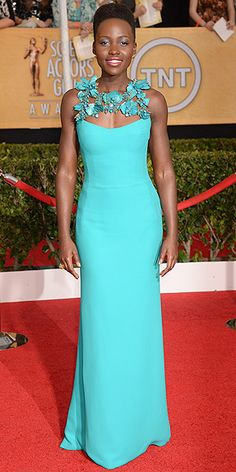 SAG AWARDS In one-of-a-kind turquoise Gucci featuring floral adornments at the neckline and back