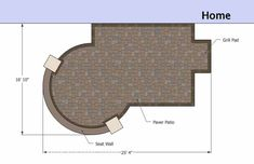 The Small Patio Design on a Budget with Seat Wall is perfect for anyone wanting to enjoy a backyard BBQ with limited space. BBQ grill pad. Downloadable plan.