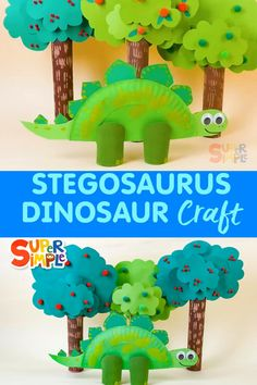 Using a paper plate and a few paper rolls, you can create your very own Stegosaurus friend! Halloween Crafts For Toddlers, Animal Crafts For Kids, Diy Crafts For Kids, Fun Crafts, Art For Kids, Ocean Crafts, Diy Halloween, Dinosaur Projects, Dinosaur Activities