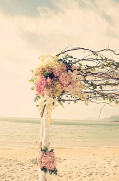 Floral arbour on the beach