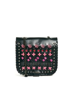 ASOS Leather Across Body Bag With Whipstitch Detail