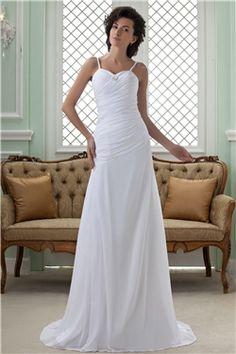 スレンダーライン 細いストラップ ロング長さ コートウェディングドレス