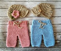 Twin Boy and Girl Hat and Pants Set