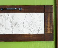 Upcycled Frames      A cast-off cabinet door gets a new life as the frame for this plaster of Paris art project. Rethink old frames, door panels, or windows to serve as the frame for your project. If plaster leaks out of the frame, simply sand the excess away.